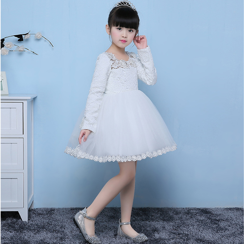 2017 New Cute Fashion Girls Autumn Spring Long Sleeves Princess Dress wedding Party dress For girl children party dresses 2 8y new 2017 high quality girls party dress 1pc girls vest princess dress children spring autumn dress girl summer dress