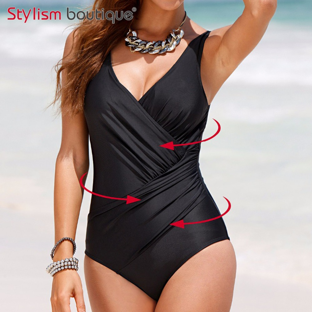 2018 Plus Size Swimwear Women 1 One Piece Swimsuit Solid Surplice Swimwear Vintage Bodysuit Bathing Suits Black Купальник