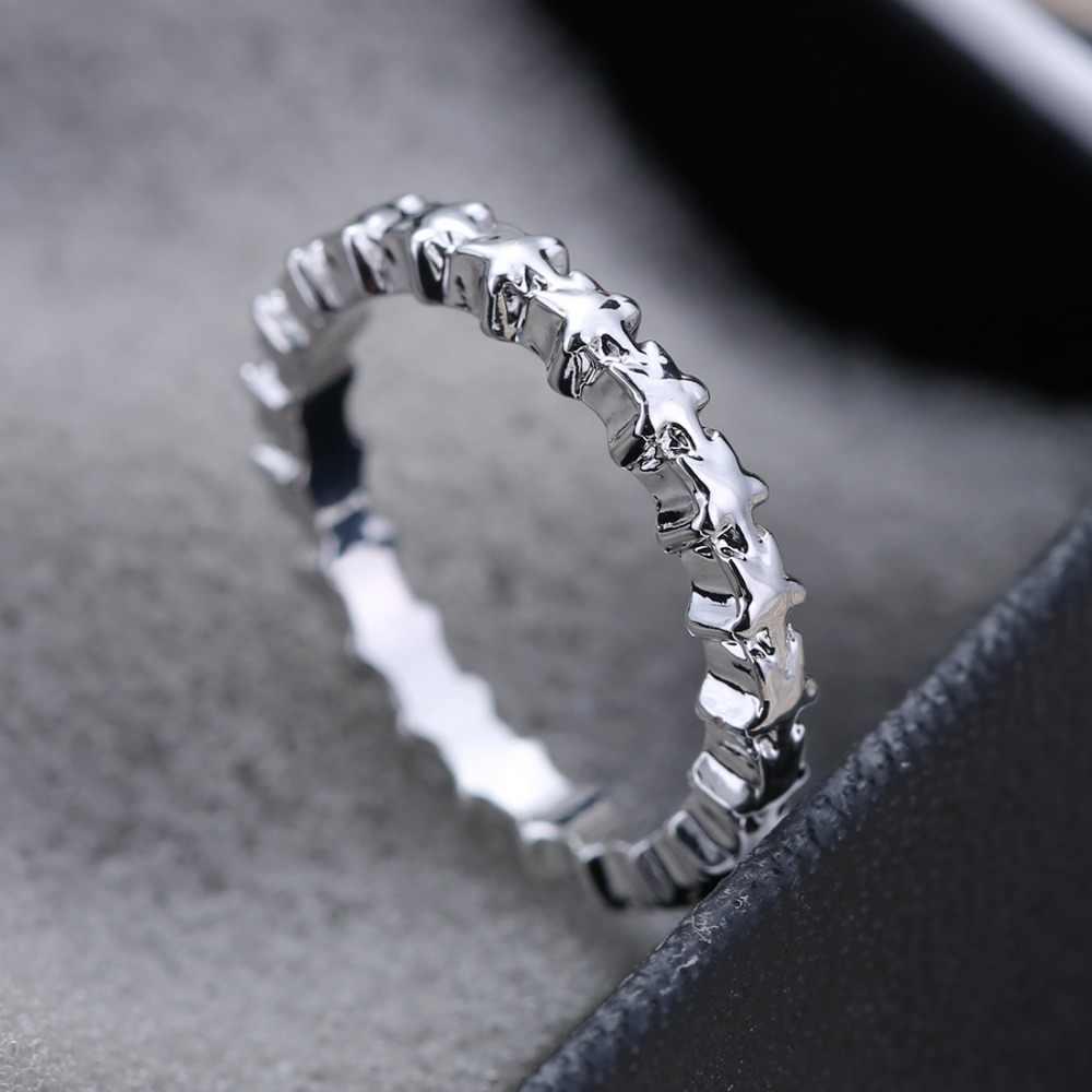 Rinhoo صغيرة خاتم على شكل نجمة النساء الرجال المجوهرات الفضة اللون التيتانيوم الصلب خاتم خمر فتاة العرائس زوجين الزفاف مساء حفلة هدية