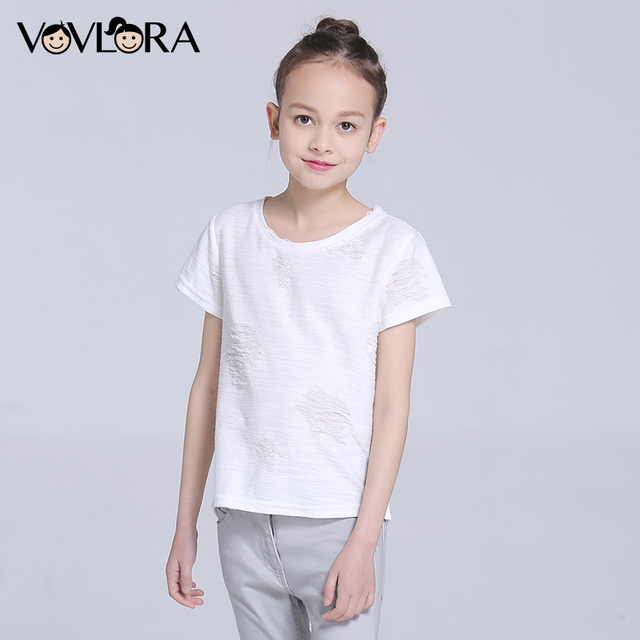 Girls T shirts Tops Short Sleeve Cotton O neck Kids T shirt Tees Ripped Solid Spring 2018 New Fashion Size 10 11 12 13 14 Year