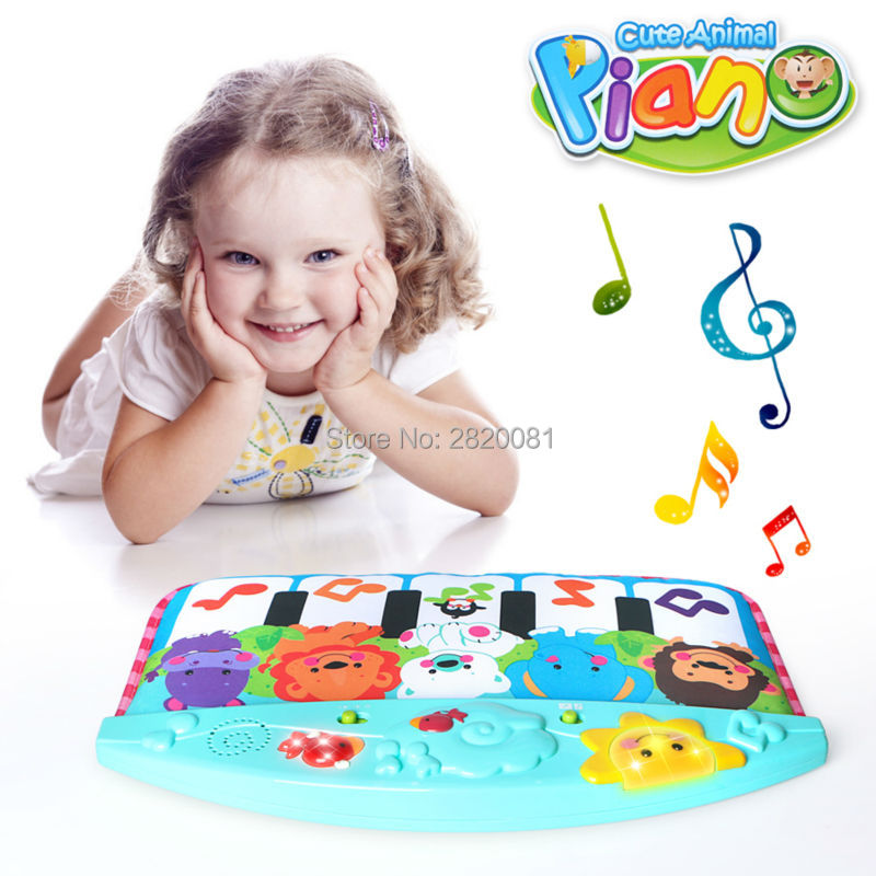 Baby cute animal piano kicking&play toy piano model,song&animal sounds for kid early educational stop cry musical toy bule&pink