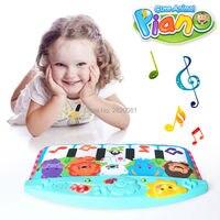 Baby niedlichen tier klavier treten & play toy piano modell, song & tierstimmen für kind frühe pädagogische stop cry musical spielzeug bule & rosa