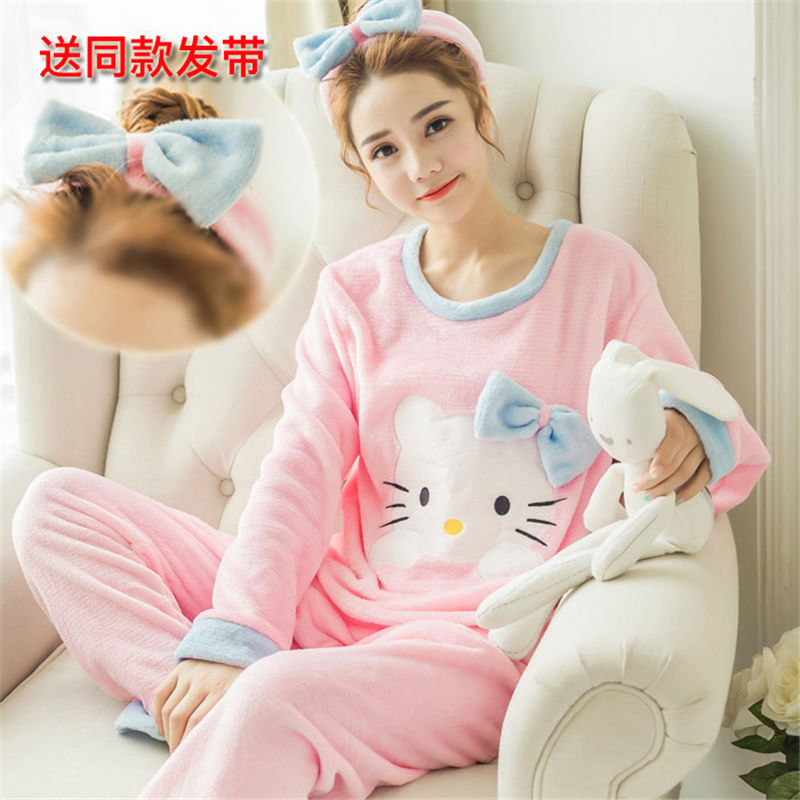 High Quality Women Pajama Sets Winter Soft Thicken Cute Cartoon Flannel Sleepwear 2 pcs/Set Tops + Warm Pants Home Clothes Mujer 91
