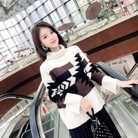 Korean Turtleneck Patchwork Casual Pullovers Flare Sleeve Sweater Women Geometry Sweters Women 2018 Winter
