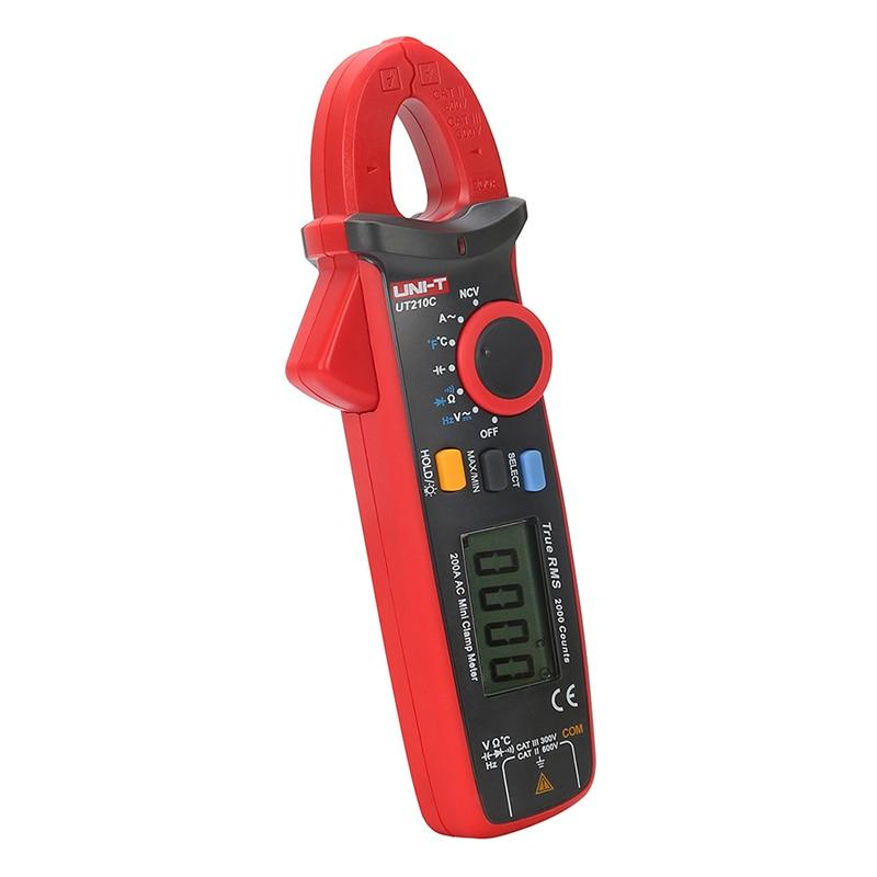 UT210C Mini Digital Clamp Meter Ture RMS Auto Range Capacitance Clamp Multimeters Megohmmeter Temperature Multitester UNI-T uni t ut60b modern auto ranging data hold dmm digital multimeters w capacitance