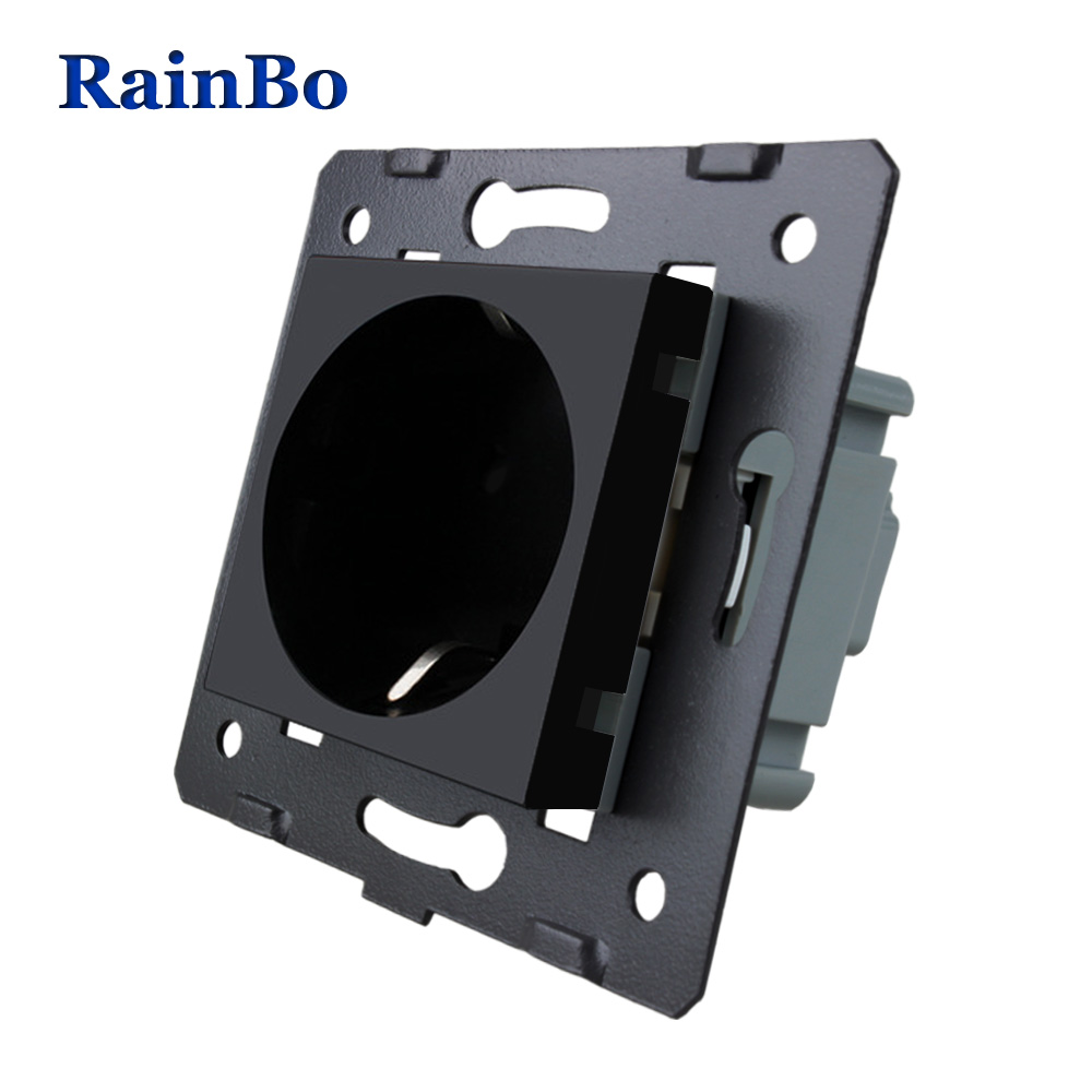 RainBo EU Wall power Socket DIY EU Standard Power Socket without Glass Panel socket function parts AC 110 250V 16A A8EW B in Switches from Lights Lighting