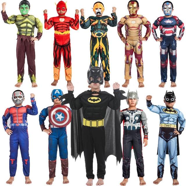 Super Herói Capitão América Avengers Roupas Macacão Superman Batman IronMan Thor Hulk Muscular Trajes Cosplay Presente do Dia Das Bruxas