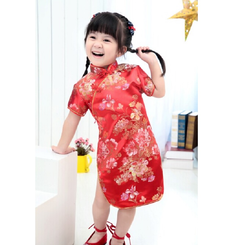 2017 Summer Girls Dress Qipao Chinese Dresses Sleeved wedding Top Quality Floral girls clothes Rose 2 4 6 8 10 12 14 16Year in Dresses from Mother Kids