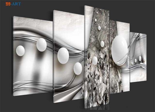 White Ball Prints Poster Canvas Art 5 Pieces Abstract Painting Modern Metallic Wall Art Modular Pictures for Bedroom Home Decor