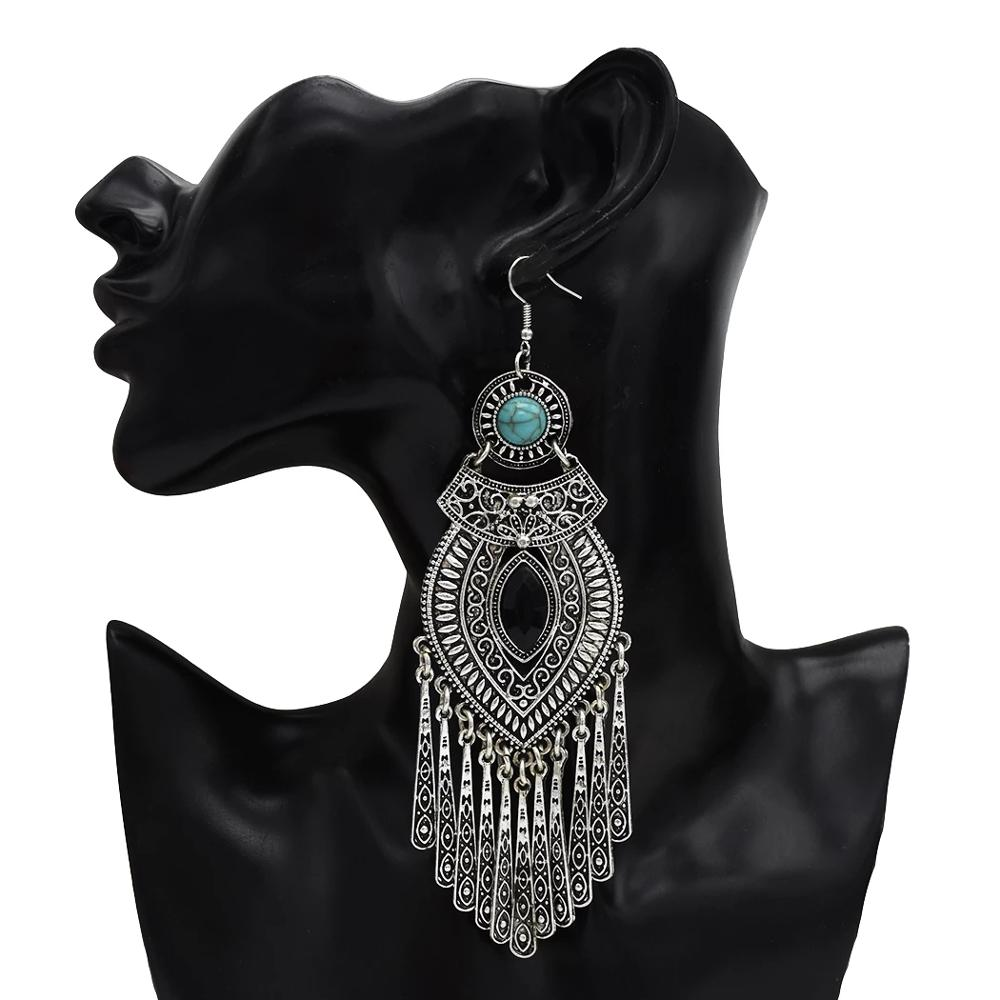 Ethnic Retro Boho Droplets Dress Mexico Gypsy Dangle Earrings Silver Metal Big Long Tassel Earrings india Tribal Turkish Jewelry