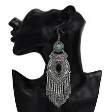 Etnis Retro BoHo Tetesan Gaun Meksiko Gypsy Menjuntai Anting-Anting Warna Logam Besar Panjang Rumbai Anting-Anting India Suku Turki Perhiasan(China)
