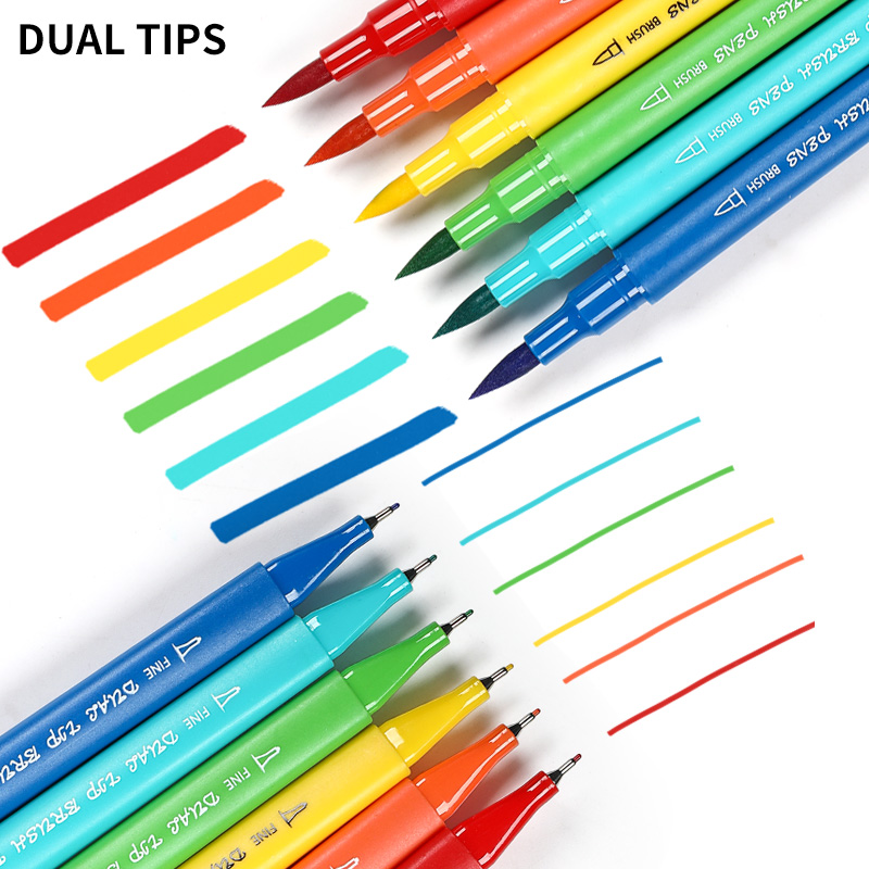 60 72 100Colors Watercolor Dual Tip Fineliner Marker Pen Kids Painting Drawing Brush Pen Art School Stationary Supplies in Art Markers from Office School Supplies