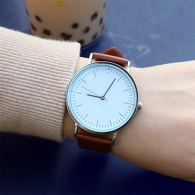 Luxury Brand Fashion Man Simple Design Leather Wristwatches For Women Ladies Dress Steel Gift Wristwatches