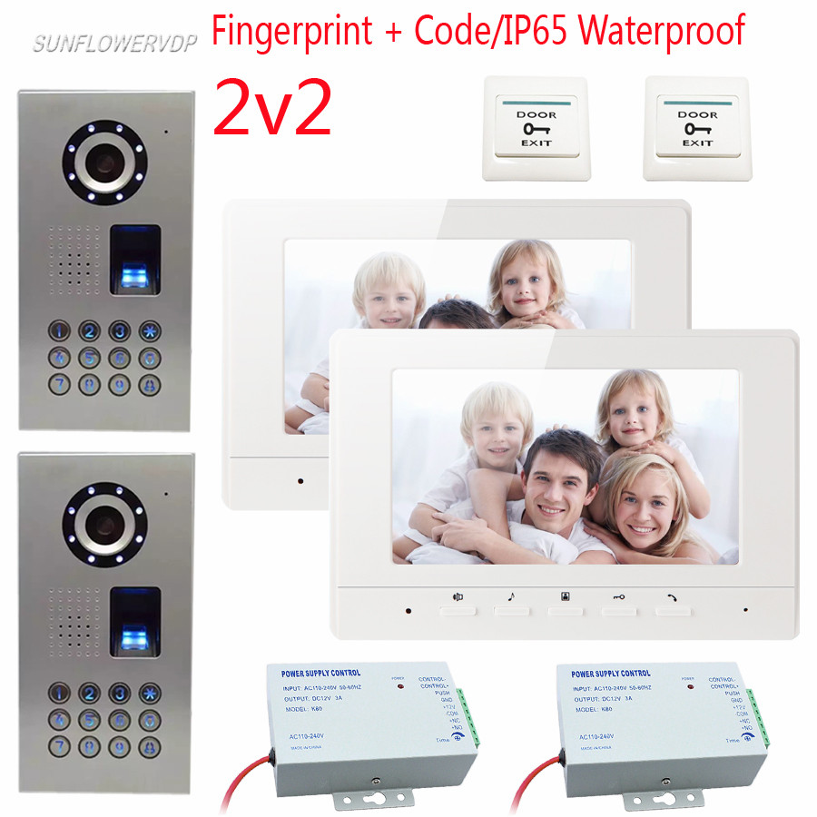 Fingerprint Password Unlock Wired Video Intercoms IP65 Waterproof  Video Door Phone Key Intercom With 12V Power Supply 2 DoorsFingerprint Password Unlock Wired Video Intercoms IP65 Waterproof  Video Door Phone Key Intercom With 12V Power Supply 2 Doors