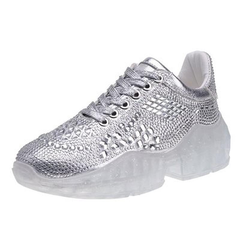 Sauvages Fond De Casual Or Version argent Printemps La Coréenne Chaussures Xwd7622 Strass Transparent Nouvelle Pour Femmes Femme 2019 YW2HED9I