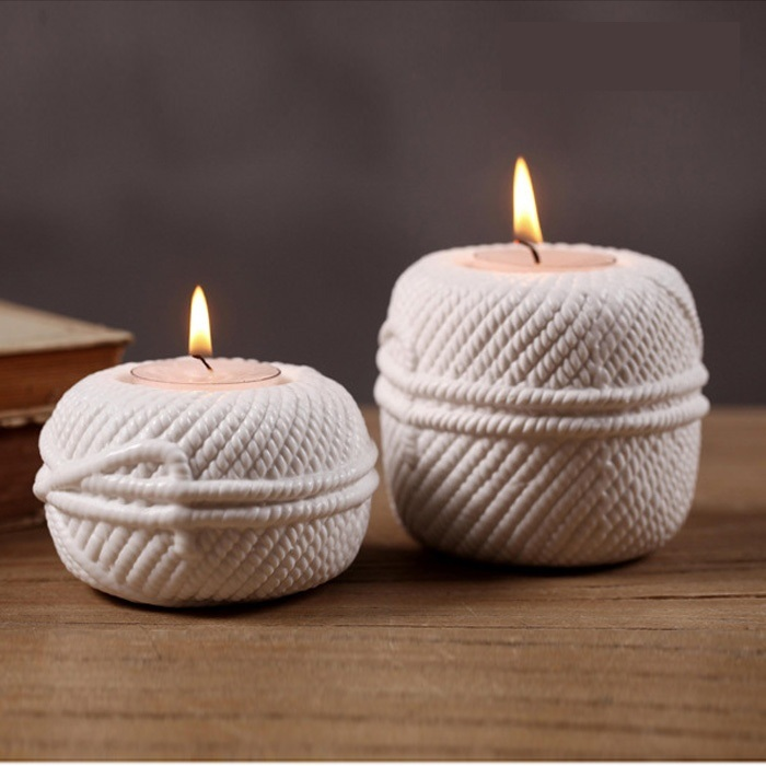 Creative rope design ceramics candle holder decorative for Creative candle holders