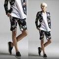 Mens floral calções 2017 calções masculinos calções casuais masculinos moda personalidade flor de linho homem