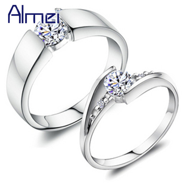 49% off Fashion Crystal Silver Couple Rings for Men and Women Wedding Lovers Commitment Ring Zircon Anillos Mujer Anel J045