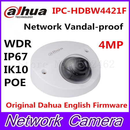 Dahua IPC-HDBW4421F 4MP Network Vandal-proof 20M IR IP Wedge Dome Camera English firmware Free shipping WDR IP67 IK10 POE free shipping dahua cctv camera 4k 8mp wdr ir mini bullet network camera ip67 with poe without logo ipc hfw4831e se