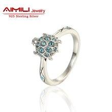 Gw sapphire черепаха обручальное камень серебро свадьба & ювелирных кольца синий