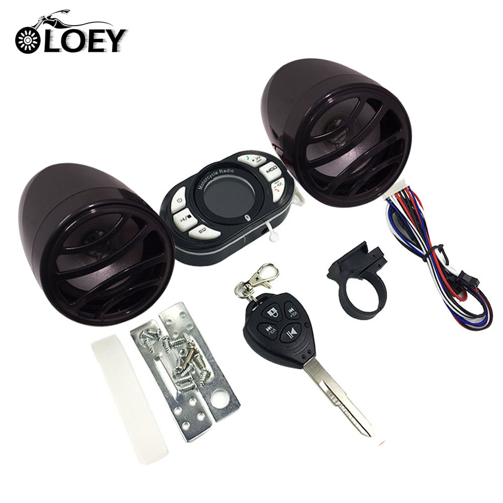 все цены на Waterproof Motorcycle LCD Bluetooth Audio Radio Sound System Stereo Speakers MP3 Music Player Moto Security Alarm USB/TF/FM онлайн