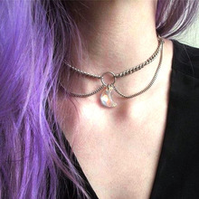 LE SKY Fashion Crystal Moon Pendant Chain Multi-layer Necklace for Women Girl Gift Jewelry