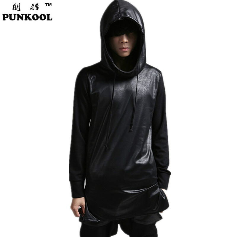 2017 Hot Harajuku Leather Patchwork Hoodies Men Polo Tracksuit Hooded Sweat Hoodie For Men Hip Hop Hoodie Sweatshirts Male(China (Mainland))