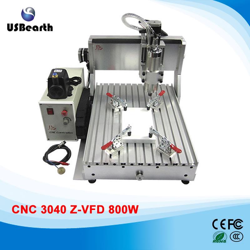 800w mini cnc router 3040Z-VFD800 metal milling machine, assembled , ball screw, limit swtich