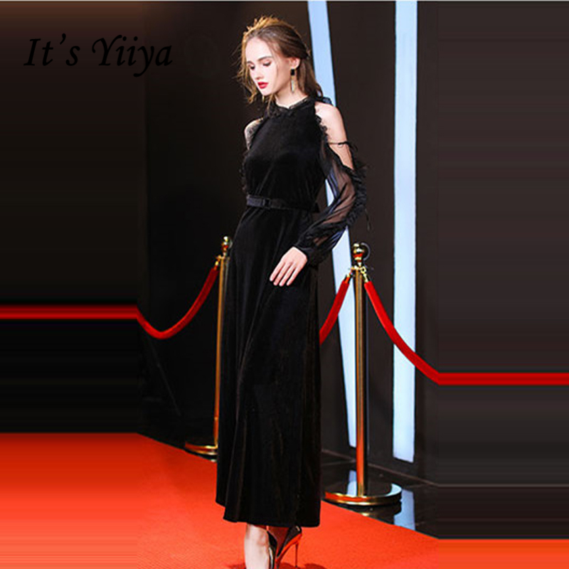 It's Yiiya   Evening     Dresses   2018 Black Custom made Full Sleeve Sexy Illusion A-Line Fashion Designer Formal   Dress   LX972