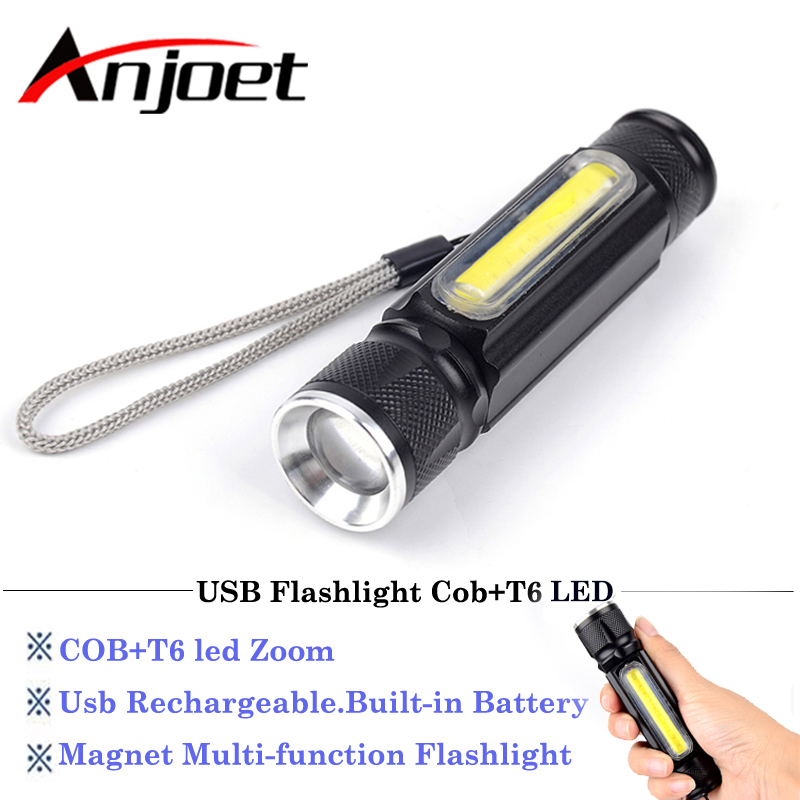 5000lm Powerful LED Flashlight USB Rechargeable with Magnet <font><b>X900</b></font> COB CREE XM-L T6 LED Torch Handy Flashlight Pocket Camping lamp image