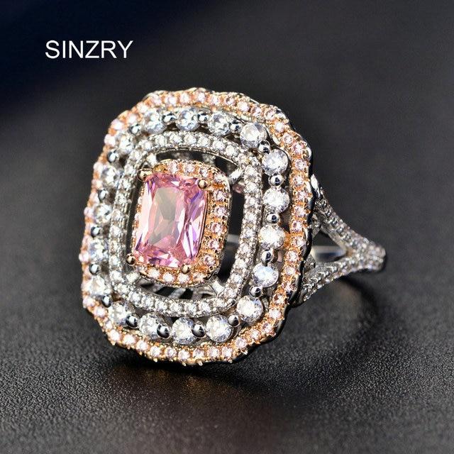 SINZRY Brand Big Flashing Cubic zironia finger ring New Fashion Pink bridal wedd