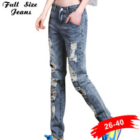 Boyfriend Ripped Denim Jeans For Women Distressed Jeans Plus Size Female Casual Dstoryed Pants Retro Big