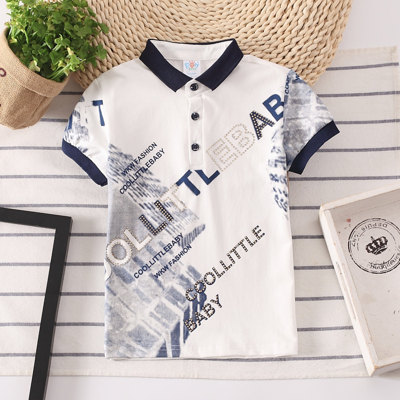 BAYY Mens Fashion Short-Sleeve Turn Down Collar T-Shirts Letter Printed Polo Shirt