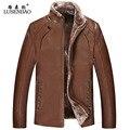 PU моды высокого качества овчины пальто зимняя шерсть мужская искусственная кожа пальто мужская кожаная куртка плюс толстый бархат