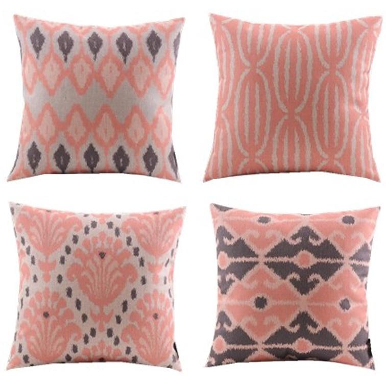 Nieuwe / 4 stks / koraal en zwart / diamant / chevron pasley - Thuis textiel