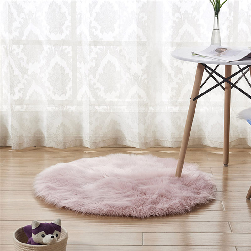 Wool Imitation Sheepskin Rugs Faux Fur Non Slip Bedroom Shaggy Carpet Mats Modern Carpets For Living Room Fashion A26@Z (14)
