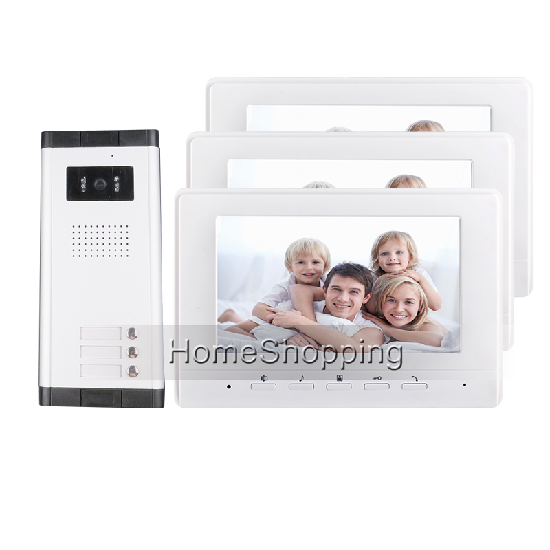 FREE SHIPPING Brand 7 Color Video Door Phone Intercom System 3 Monitors+ 1 HD Doorbell C ...