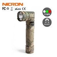 NICRON Camo 90 Degree Twist Flashlight 3 Color Light 200M 18650 USB Rechargeable Battery Waterproof IP65 Lighting Torch B70 Plus