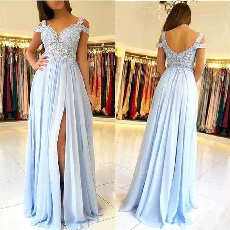 Classic Sky Blue Chiffon   Prom     Dress   with Lace Appliques Split Front Backless Plus Size Formal Evening Gowns Custom Made Vestidos