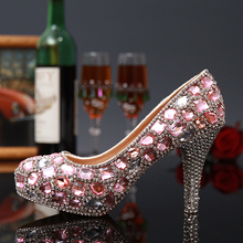 Sweetness Crystal Lady Shoes Luxury Round Toe Rhinestone Platform High-Heeled Shoes Fuchsia and Green Wedding Shoes