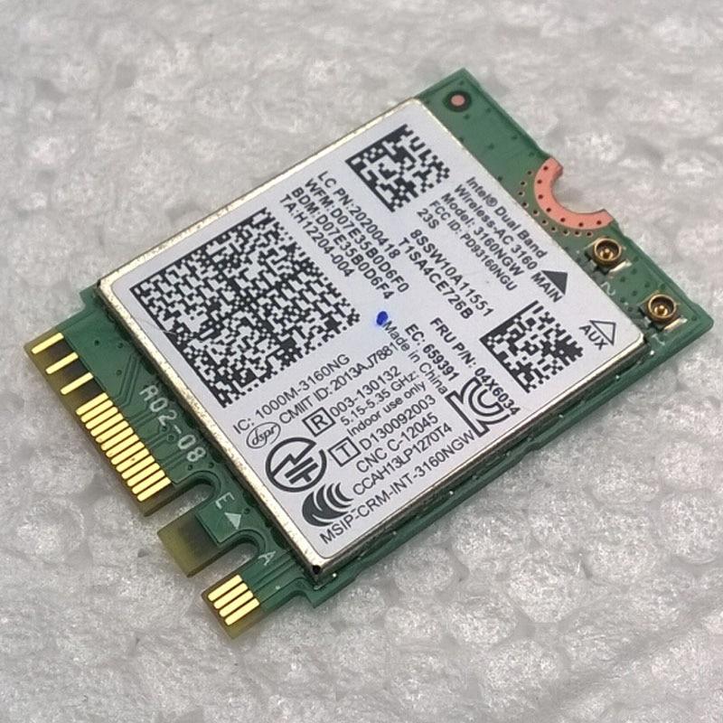 Int Dual Band Wireless-AC 3160 802.11a/b/g/n/ac + BT 4.0 WiFi Card For Lenovo Y40, Y50, E10-30 Series,FRU 04X6034 20200418
