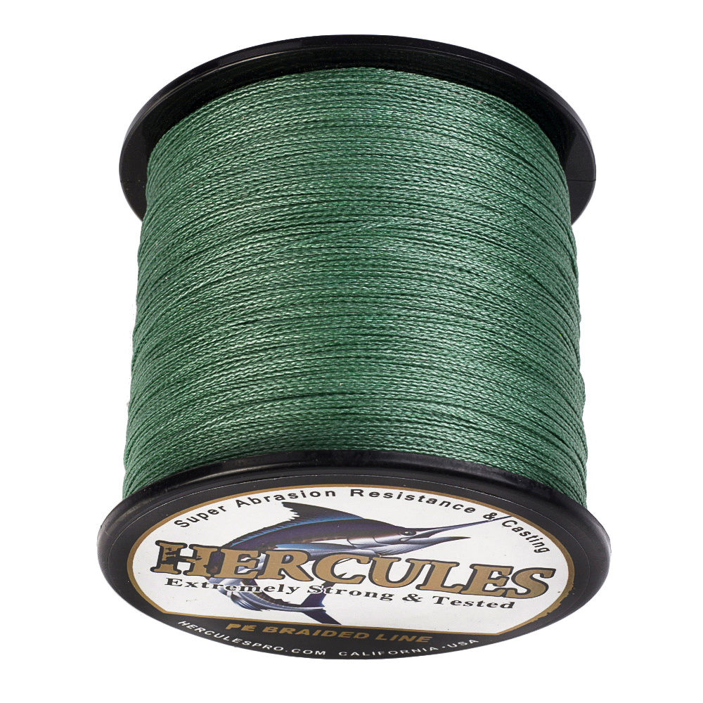 Hercules 4 Strands Fishing Line 100M 300M 500M 1000M 1500M 2000M Green PE Braided Fishing Line Saltwater Weave Extreme Strong