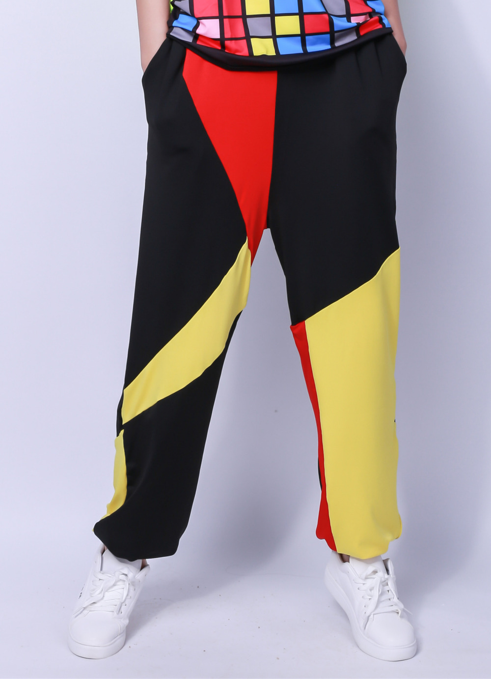 Kids Adult Brand Spring Summer Sweatpants Costumes Wear thin Yellow Red Black patchwork Panelled jazz harem Hip Hop Dance Pants