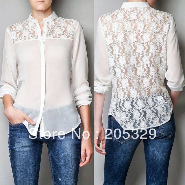 892a53eba Trendy Womens Turndown Collar Chiffon Lace Patchwork Floral Back Button  Down Shirt Blouse Tops