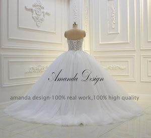 Image 5 - Amanda Thiết Kế Strapless Xem Qua Ren Appliques Bóng Gown Wedding Dress