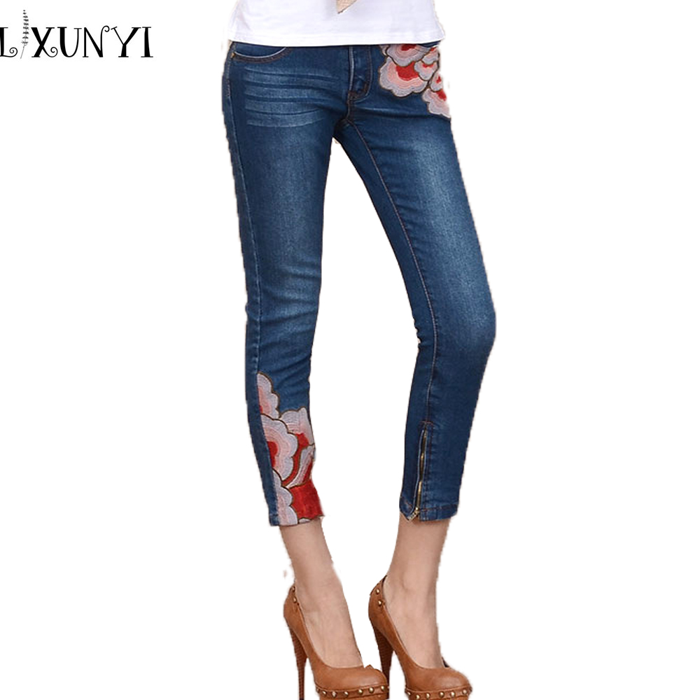 New plus size summer embroidery women jeans pants