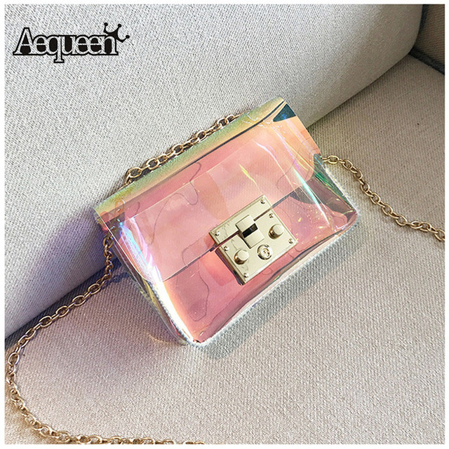 a1b0c8beeef8 AEQUEEN Clear Chain Bag Transparent PVC Jelly Bags Women Crossbody Bag  Holographic Laser Messenger Bag Mini