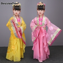 2019 new child chinese traditional hanfu dress girls emperor queen princess stage children costumes tang suit kids robe все цены
