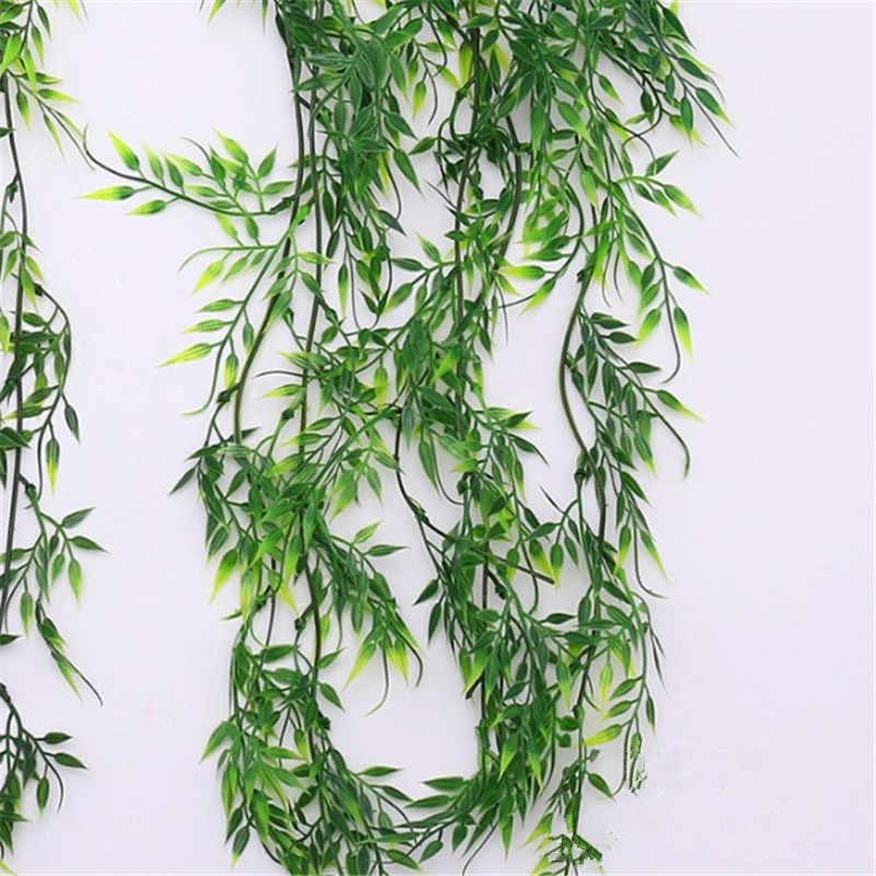 1 pc Artificial Folhas de Videira Da Planta De Plástico Pendurado Na Parede de Casa Jardim Sala Decorativo Falso Folhas Verdes Da Ivy League rattan