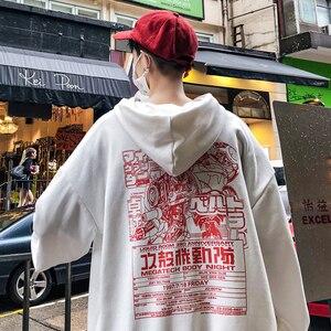 Image 3 - LEGIBLE Men Hip Hop Print Hooded Hoodies 2020 Mens Autumn Harajuku Sweatshirt Male Japanese Streetwear Skateboard Pullover